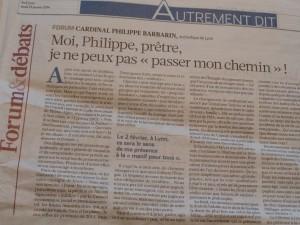 Dans le quotidien La Croix du 23 janvier 2014, le cardinal-archevêque de Lyon annonçait qu'il serait dans les rangs de la Manif pour tous (© Pierre Nouvelle).