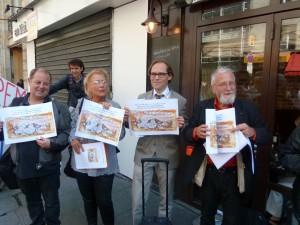 Jean Tortrat (SNJ-CGT),Dominique Pradalié (SNJ), Gilles Pouzin (SJ-CFTC) et Jean-FRançois Cullafroz (CFDT-Journalistes) représentaient la profession pour honorer Jean Jaurès et rappeler le président Hollande à ses engagements de campagne (© Laurent Villette).