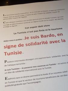 Habib Rajab, chef de file de l'Union générale des travailleurs tunisiens, centrale syndicale de la révolution du jasmin a fait parvenir ce message en France  (© Thérèse Bunel).