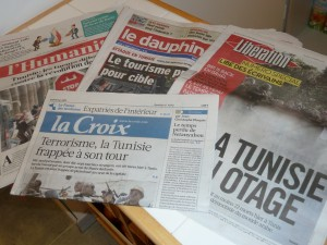 La presse écrite était unanime : l'attenta de Tunis est intolérable et n'est pas le reflet des pratiquants musulmans (© Pierre Nouvelle).