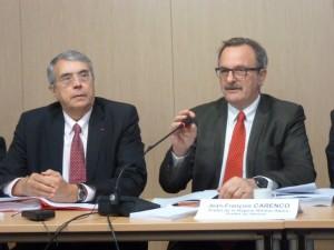 Lundi 2 mars Jean-Jack Queyranne et Jean-François Carenco présentait le contrat de plan Etat-Région 2015-2020 qui sera présenté à l'assemblée régionale (© Pierre Nouvelle).