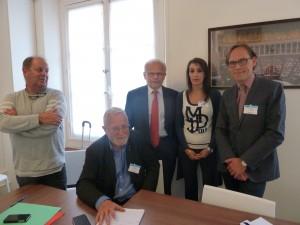 Le 9 juin, les responsables CGT (Jean Tortrat), CFTC (Gilles Pouzin) et CFDT (Hakima Bounemoura-J.-F. Cullafroz) ont dialogué une nouvelle fois avec Christian Kert, vice-président du groupe Les Républicains (© DR)