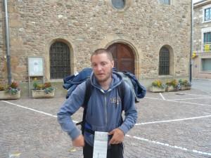 David quitté sa ville d'Einsielden dans le canton de Shwyz mi-juillet.  Parvenu dans le sud du département du Rhône le 3 août, il compte parvenir à Santiago de Compostela début octobre (© Pierre Nouvelle).