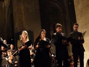 Heather Newhouse Peraldo, Anthéa Pichanik, Hugo Peraldo et Romain Bockler étaient les solistes du concert du 18 juillet en l'église Saint-Sauveur à Crest (© Pierre Nouvelle).