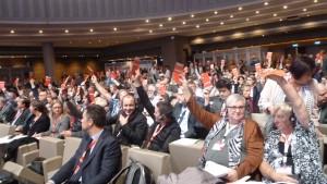 La délégation CFDT a voté le rapport d'orientation et le Manifeste final traçant les orientations de la Confédération européenne des syndicats pour les quatre années à venir (© Pierre Nouvelle).
