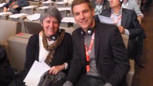 Dans la délégation confédérale CFDT : Elisabeth Le Gac (Rhône-Alpes) et Thiébaut Weber (secteur jeunes) (© Pierre Nouvelle).