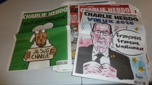 Mercredi 6 janvier 2016, Charlie Hebdo publiera un numéro spécial, un an après la tuerie qui a brisé sa rédaction (© Pierre Nouvelle).