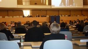 Quelque 200 conseillers régionaux issus d'Auvergne et de Rhône-Alpes étaient réunis pour la première dans une nouvelle assemblée pour la séance inaugurale du 4 janvier 2016 (© Pierre Nouvelle)