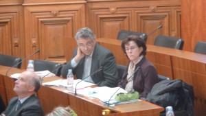 Daniel Jullien (centriste), Bernard Chaverot et Sheila Mc Carron (gauche) ont fait entendre une voix discordante au sein d'un Conseil départemental très consensuel (© Pierre Nouvelle).