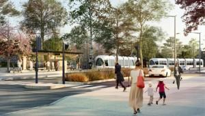 Une représentation du futur tramway T6 : à l'image des lignes existantes (© DR/Ilex paysageurbanisme).