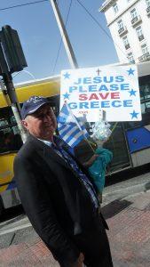 Grogoris près du Parlement et de la place Syntagma en appelle à un ultime sauveur (© Pierre Nouvelle).