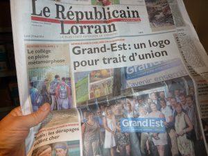 """La presse quotidienne régionale s""""est emparé de la candidature de Metz au patrimoine culturel de l'humanité, comme elle l'a fait pour le logo de la nouvelle région Grand Est  (© Pierre Nouvelle) ."""