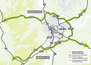 Le bienfait pour les Lyonnais que va engendrer le décalssement des autoroutes A6 et A7 dans la traversée de la métropole lyonnaise, risque de setraduire par le poursuite de constructions autoroutières à l'Est et au Sud © ville de Lyon.