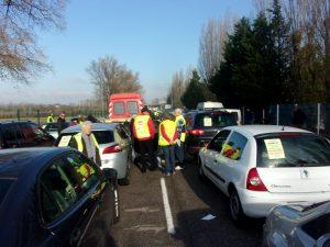 Le contournement Sud de Lyon a été bloqué entre Chasse et Communay pour protester contre des projets d'autoroutes nouvelles (© Cyril Mathey).
