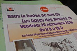La collecte mémorielle historique de la CFDT en Rhône-Alpes poursuit son bonhomme de chemin. Vendredi 25 novembre, cent personnes ont rejoint les Archives départementales du Rhône et de la Métropole de Lyon pour évoquer durant une journée les luttes sociales des années 70 (© Gilles Cadoret).