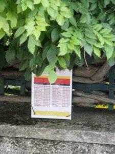 A Saint Romain-en-Gal, devant le lycé Ella Fitzgerald, les horaires sont suspendus aux arbres ou à la trille d'une maison. De plus, les lycées ne bénéficient pas d'un abribus. Une demande qui relève du Conseil départemental du Rhône et devrait pouvoir être satisfaite (© Pierre Nouvelle).