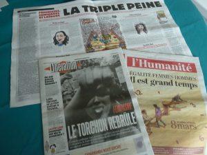 certains quotidiens ont mis explicitement les droits des femmes à la Une du numéro du 8 mars 2017 (© Pierre Nouvelle).
