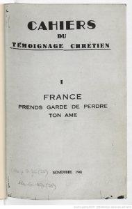 En 1941, face au nazisme, le père jésuite Gaston Fessard lançait un appel à combattre le fascisme du disctateur hitlérien et la collaboration instaurée par le régime pétainiste (© DR/BNF).