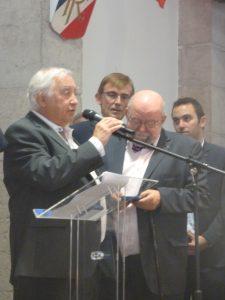 Jean-Paul Boutelier et Jean-Pierre Vignola, cofondateurs de Jazz à Vienne, ont été honorés par la ville de Vienne (© Pierre Nouvelle).