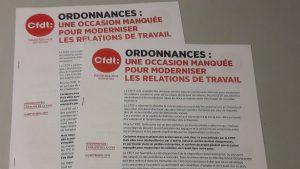 Depuis la communication du texte des ordonnances aux organisations syndicales, la CFDT a exprimé une décpetion qui un mois plus tar s'es muée en défiance à l'égard du gouvernement Macron (© Pierre Nouvelle).