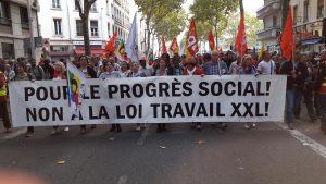 Sud-Solidaires, la FSU, l'Unef et Force ouvrière avaient rejoints la CGT du Rhône dans son appel à manifester contre les ordonnances Macron (© Pierre Nouvelle).