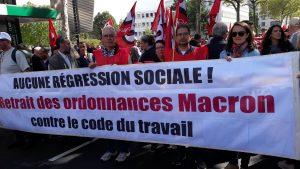 Même minoritaires en nombre de présents et au sein de leur confédération, les militantèeès Force ouvrière du Rhône étaient très voyants et déterminés (© Pierre Nouvelle).