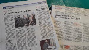 L'appel des militants CFDT à leurs respionsables a été relevée par différents quotidiens (© Pierre Nouvelle).
