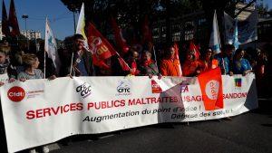 Neuf organisations syndicales avient appelés dans l'unité à faire grève et manifesté le 10 octobre 2017 : une première jamais vue depuis dix ans (© Pierre Nouvelle).