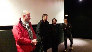 Frédéric Lefort a accueilli dans la salle du cinéma lyonnais Opéra qu'il anime les réalisateurs Raphaël Girardot et Vincent Gaullier ainsi qu'un des responsables du 10e festival Novembre des canuts (© Pierre Nouvelle).