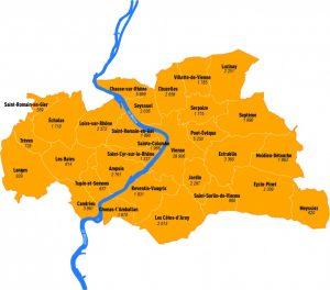 Vienne-Condrieu agglomréation, c'est une entité de 90 000 habitants de 30 communes répartis sur les deux rives di Rhône 30 communes et près de 90 000 habitants (© DR/L'Essor).