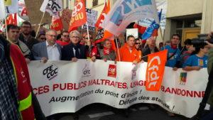 Le 10 octobre 2017, c'est dans une unité syndicale remarquée que les fonctionnaires ont manifesté. prmi eux, il y avait des militant.e.s de 1968 (© Pierre Nouvelle).