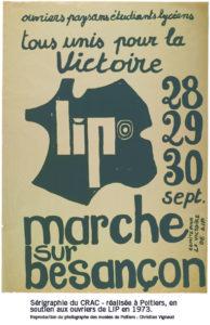 Après le rassemblement du Marzac où les Lip convergèrent aux côtés des Paysans travailleurs, c'est vers Besançon que la foule convergea à l'appel notamment de la CFDT et du PSU (DR).