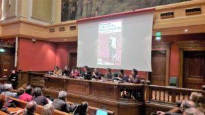 Nathalie Dompnier, présidente de l'université lyon 2 a ouvert la présentation du livre Lyon en lttes dans les années 68, un ouvrage pluridiscoplinaire et publié aux Presses universitaires de Lyon (© Pierre Nouvelle).