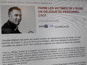 Christian Medvès est l'une quatre citimes dy tueur fanatique de Trèbes. Militant CFDT, il partageait avec le lieutenant-colonel Arnaud Beltrame le dévouement aux autres et au bien commun (© Pierre Nouvelle).