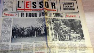 Pendant mai et juin 68, à la différence des quotidiens lyonnas, L'Essor, jebdomadaire diocésain du Rhône, de la Loire et de l'Isère a continué à paraître (© Pierre Nouvelle).