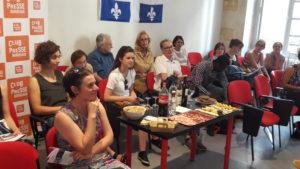 Le Club de la presse a accueilli tout à la fois les responsables nationaux de CFDT-Journalistes et un débat avec des collègues québecois (© Pierre Nouvelle).