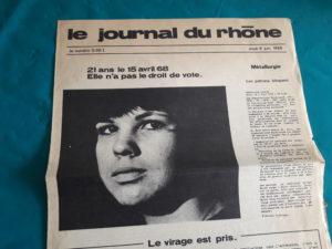 Avec Claude Huissoud, Suzette Rata, Bernard Gerland et Elie Depardon, Madeleine Delessert fut une des chevilles ouvrières d'un quotidien original qui parut durant cinq semaines en mai-juin 68 à Lyon (© Pierre Nouvelle).