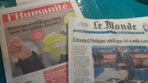 Sur un fond de durcissement sécuritaire s'annonce le 9e samedi des Gilets jaunes (© Pierre Nouvelle/La Croix).
