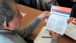Réunis à la Bourse du travail de Lyon, une centaine de retraité.e.s syndicalistes de la CFDT ont réfléchi pendant une journée sur la politique de l'Europe en matière sociale et économique (© Pierre Nouvelle).