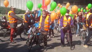 Pour témoigner qu'un autre avenir economique, social et climatique est possible, La CFDT Lyon-Rhône avait choisi de défiler à vélo ce 1er mai 2019 ( © Pierre Nouvelle ).