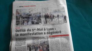 Le quotidien lyonnais Le Progrès a choisi de titrer sur les violences pour évoquer la manifestationn syndicale lyonnaise pourtant marginales ( © DR Le Progrès ).
