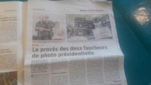 Lundi 2 septembre 2019, Fanny Delahalle et Pierre Goinvic comparaissaient devant le tribunal correctionnel pour avoir décroché le portrait du président Macron ( © Pierre Nouvelle ).