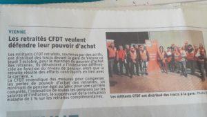 Comme dans une centaine de villes françaises, la CFDT s'est mobilisée le 3 octobre pour le pouvoir d'achat des retraités ( © Pierre Nouvelle )