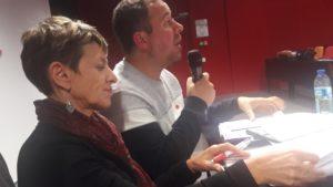Les responsables syndicaux régionaux Agnès Naton et Pierrick Aillard ont témoigné de leur travail en commun ( © Pierre Nouvelle ).
