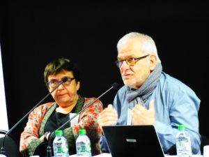 Au côté de l'universitaire Daniele tartakowsky, Gaby Bonnand intervenait à Lyon en mars 2018 lors du colloque CFDT 1968-2018 ( © DR/Bernard Labas ).