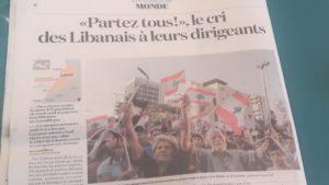 Malgré les mesures annoncées le 21 octobre par le premier ministre, la mobilisation populaire se poursuit au Liban ( © DR La Croix/Pierre Nouvelle ).