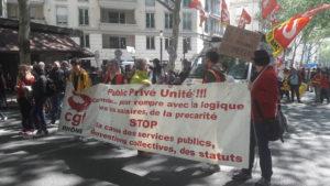 er mai 2019 à Lyon : en rouge avec la CGT pour l'union des salariés du secteur public et des entreprises privées ( © Pierre Nouvelle ).