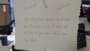 C'est aussi dans des maximes puisées dans la littérature que Cécile Marthouret puise ses références ( © Pierre Nouvelle ).