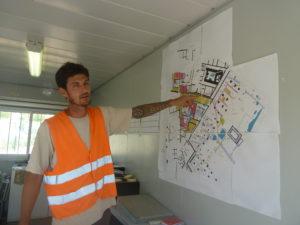 Le 10 août 2017, Benjamin Clément nous faisait découvrir ss travaux sur le chantier qu'il dirigeait ( © Pierre Nouvelle ).