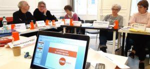 Une quinzaine de responsables départementaux CFDT-Retraités d'Auvergne-Rhône-Alpes ont planché opendant une journaliste avec des journalistes au Club de la presse de Lyon ( © Pierre Nouvelle ).